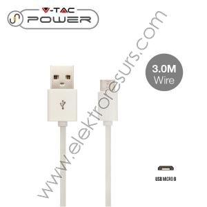 кабел 3м-MICRO USB бял 8451