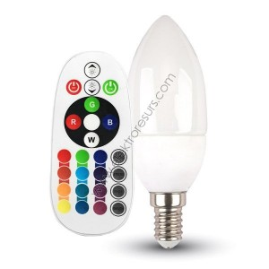 LED Крушка Е14 3.5W RGB + 6400K Кендъл + Дистанционно