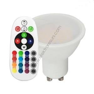LED Крушка GU10 3.5W RGB 6400K Дистанционно