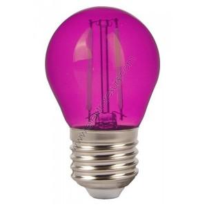 LED Крушка Е27 2W Сфера Розова