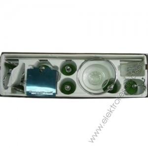 Аксесоари за баня и огледало хром - 6 бр.